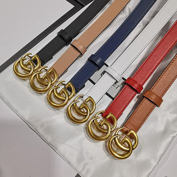 GUCCI GG Marmont thin leather belt with shiny buckle 20MM