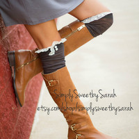 Tall Drink of Water-Charcoal Over the Knee Boot Socks with lace trim and buttons - Lace Socks