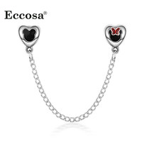 European Silver Double Heart Mickey Safety Chain Beads Diy Bead Charms Fit Pandora Bracelets & Bangles Original Jewelry Making