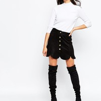 Daisy Street Scalloped Skirt In Faux Suede at asos.com