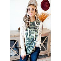 The Paige Hooded Top (Green Camo) FINAL SALE