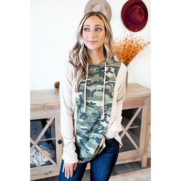 The Paige Hooded Top (Green Camo)