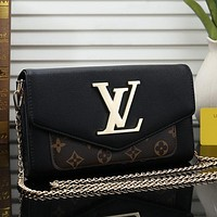 Louis Vuitton Women Fashion Leather Chain Satchel Shoulder Bag Handbag