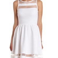 Textured Sheer-Striped Skater Dress by Charlotte Russe - White
