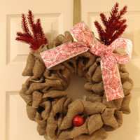 Rudolph Holiday Wreath, Burlap Christmas Wreath, Christmas Wreath, Holiday Decor