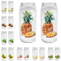 Popular Cute Work Cotton Socks 3D Fruit Sketch Print Medium Newest Fruit Socks High Quality Cotton Meias Fabulous Sokken Soxs