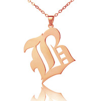 Rose Gold Old English Style Single Initial Name Necklace