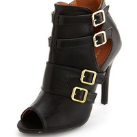 CUT-OUT BUCKLE PEEP TOE BOOTIE