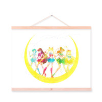 Original Watercolor Sailor Moon Japanese Anime A4 Large Art Print Poster Kawaii Wall Picture Canvas Painting No Frame Home Decor
