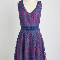 Nick & Mo Mid-length Sleeveless A-line Early Morning Moments Dress in Violet