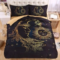 Lightweight BOHO Sun Moon and Stars 3D Bedding Set Duvet cover set Twin queen king Beautiful pattern Real effect
