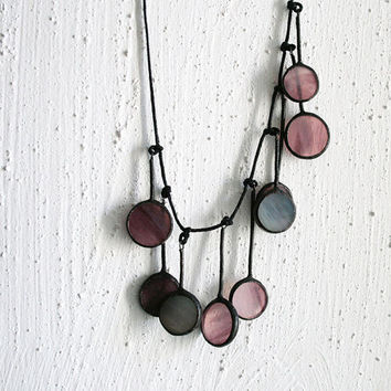 Soft purple circle necklace - stained glass and patinated cooper - unique jewelry