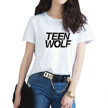 2016 New Teen Wolf Harajuku Women's T Shirts  Fashion Plus Size Casual Style Top Cute Letter T-Shirt  Female Clothes