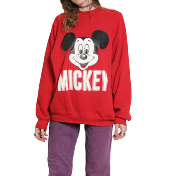 70s 80s Mickey Sweatshirt - Red Sweater - Made in USA - Mickey Mouse - Cozy Sweatshirt - Crew Neck - Sweat Shirt - Oversized Sweater Disney