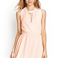 FOREVER 21 Crochet Lace Surplice Dress Peach