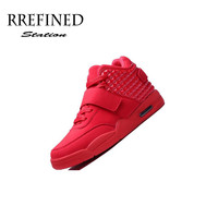 Keloch Men Casual Red Suede & PU Leather High Top Casual Shoes
