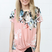 Twisted Up Floral Short Sleeve {Blush Mix}