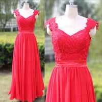Long Prom Dress,Custom Made Pleat Chiffon Bridesmaid Dress,Red Prom Dress/Evening Dress,Cap Sleeve Red Party Dress