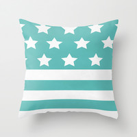 'Merica Turquoise  Throw Pillow by Liv B