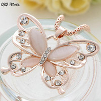 Sweater Chain Necklace Women Rose Gold Butterfly Statement Necklace Autumn Winter Decorations Collares Mujer#A124