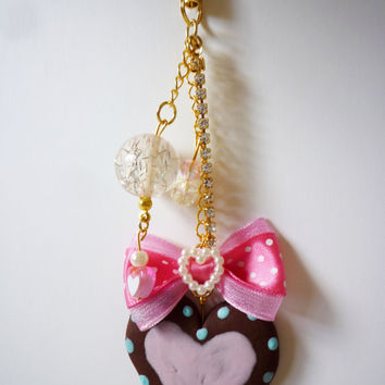 Cookie Charm - Deco Sweets, Decoden Kawaii Polymer Clay Chocolate Cookie Phone Charm/ Phone Strap - Bag Charm/Dustplug Option Available