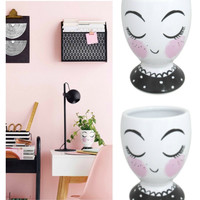 Ceramic Paris Girl Cup Desk Storage Planter SET