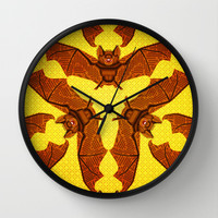 Geometric Bat Pattern - Golden version Wall Clock by chobopop