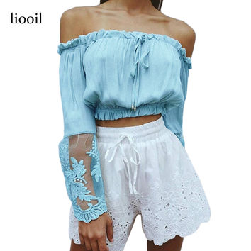Liooil Sexy Slash Neck White T Shirt 2017 Summer Fashion Flare Sleeve Lace Patchwork Chiffon Off The Shoulder Tops For Women