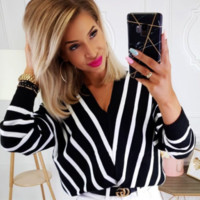 Explosive casual loose solid color sweater sexy V-neck striped sweater female