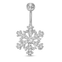 014 Gauge Snowflake Belly Button Ring with Crystals in Stainless Steel - - View All - PAGODA.COM