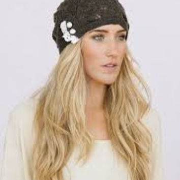Boho Beanie Lace And Button Charcoal Gray Stocking Cap Crochet Lace Wooden Button Slouch Hat One Size