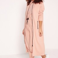 Missguided - Extreme Longline Zip Front Sweat Pink
