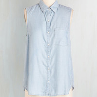 Pastel Mid-length Sleeveless The Ins and Cookouts Top by ModCloth