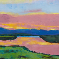 SACRAMENTO DELTA SUNSET - 10 7/8 X 6 - Waterway - Original Painting - Cottage - Wall Hanging - Landscape - San Francisco Bay Area - Artwork