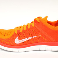 Nike Women's Free Flyknit 4.0 Orange/White Running Shoes 631050 801
