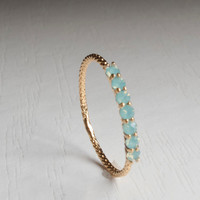 Green Half eternity ring - Green stone - Gold ring