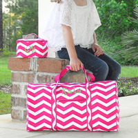 Chevron Luggage Set 2 Piece Duffel Duffle Bag Mini Cosmetic Case Hot Pink Zig Zag Travel Tote - Monogrammed Personalized