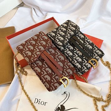 DIOR Canvas D pattern diorama chain bag mobile phone bag
