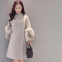 Fashion women's slim coat loose medium and long woolen coat