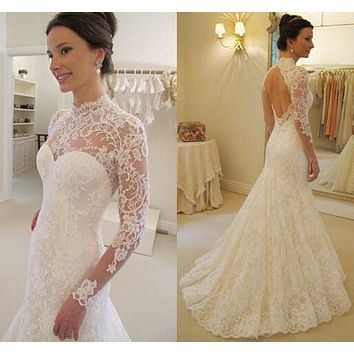 Backless Lace Wedding Dress Long Sleeves, Bridal Gown ,Dresses For Brides, PM0009