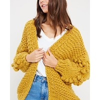 Heart On My Sleeves Handmade Relaxed Open Knit Knitted Open Front Cardigan Sweater in Mustard