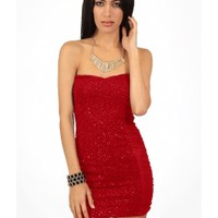 The Red Hot Sequin Strapless Dress