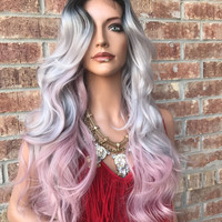 "Gray Pink 22"" Lace Front Wig"