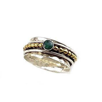 Spinner Ring - Two Tone Emerald
