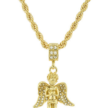 Small Goldtone Praying Angel Micro Pendant with a 24 Inch 4mm Chain