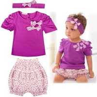 Baby Infant Toddler Girl Clothing Set Short Top T-shirt+ Pants+ Headband Set Clothing Cute Outfit 19872|28001 Children's Clothing [7687625670]