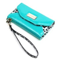 JAVOedge Leopard Clutch Wallet Case with Wristlet for the Apple iPhone 5c (Turquoise)