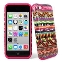 Cellularvilla Apple Iphone 5C Aztec Tribal Pink 2pc Hybrid Hard Soft Combo Case Cover Skin + Stylus Touch Pen