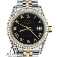 Classic Rolex 36mm Datejust 18K & SS Black Roman Numeral Dial with Diamond Watch
