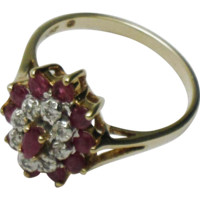 10K Yellow Gold Genuine Marquise Ruby and Diamond Cluster Ring